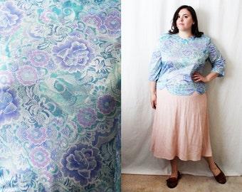 Plus Size - Vintage Pastel Floral Print Blouse (Size 18)