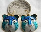 Vintage Early 1970s Laurel Burch Rare NOS Cloisonné Enamel Leopard Cat Pierced Earrings 24k Gold Wash Vermeil Sterling Silver