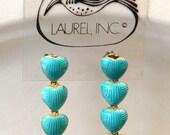 Vintage Early Laurel Burch 1970s NOS Cloisonné Enamel Articulated Dangling Heart Pierced Earrings Sterling Silver 24k Gold Wash