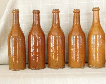 Antique French Stoneware Cider Wine Bottle