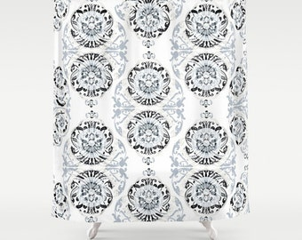 Gray Shower Curtain Floral Shower Curtain Art Curtain Abstract Curtain Vintage Pattern Geometric Pattern Shower Curtain IT Curtain 71x74