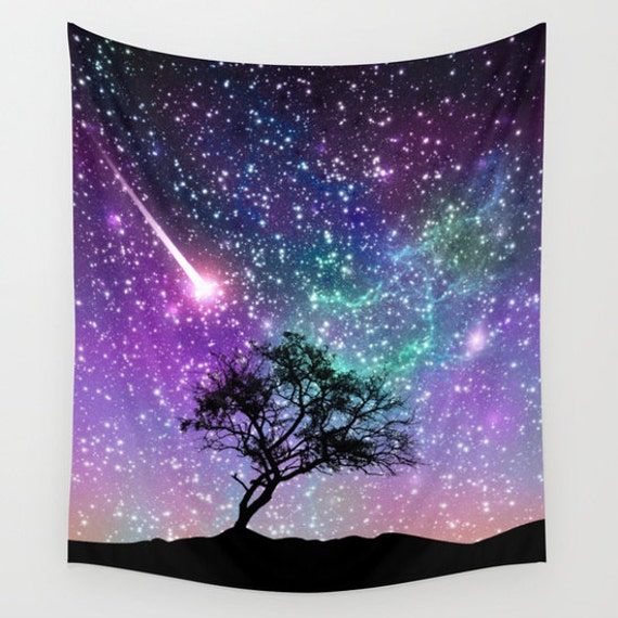 Space wall art tree wall tapestriy space wall tapestry for Space themed tapestry