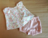 Baby girl outfit Baby girl set baby girl tunic dress Baby girl peasant blouse Baby bloomers Baby girl deaper cover Roses print top