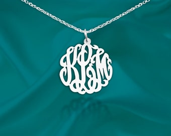 Monogram necklace - .75 inch Sterling silver Handcrafted - Initial Necklace - Personalized Monogram - Made in USA