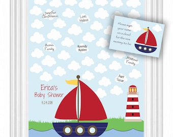 Baby Shower Guest 16x20 Sign-In Poster-Nautical Theme Baby Shower Guestbook Alternative- 50 Clouds - Boat Nursery Wall Art- READ DESCRIPTION