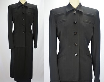 1940s WW2 Phenomenal Black Wool Gabardine Skirt Suit with DETAILS!!