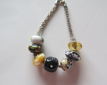 European Bead Bracelet, Black and Yellow European Bracelet