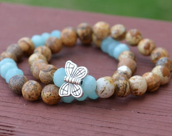 Butterfly charm bracelets, Jasper & Amazonite beaded bracelets, stretch stackable, semiprecious jewelry, positive energy