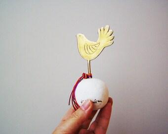 Brass bird art object,small, brass and marble bird sculpture, brass birdie on white stone, Greek folk art, small bird favour or paperweight