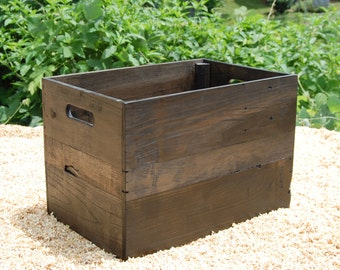 Medium Ebony Wooden Crate from Reclaimed Wood/ Apple Crates /Rustic Crate