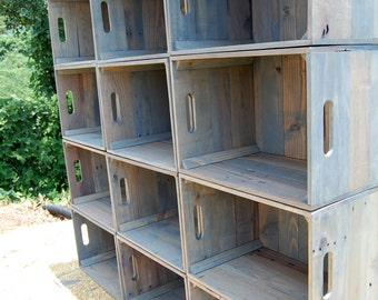 Dozen Wooden Crates/ Wall Unit/ Bookcase/ Storage/ Crate Shelves/ Reclaimed