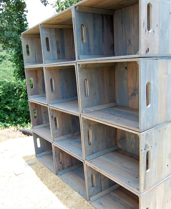 Douzaine de caisses en bois mural biblioth que rangement - Meuble cagette en bois ...