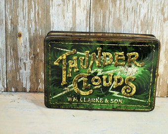 ANTIQUE THUNDER CLOUD Brand Cigarette Tin Cigar Tobacco lovely charming much loved made in England green silver rust Home Decor storage love
