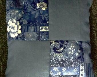 Blue Floral Squares Pillow (Bean Filled)