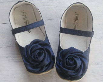 Navy Blue Baby Shoes Wedding Shoes Flower Girl Shoes Toddler Shoes Baby Girl Shoes Kids Footwear Baby Booties Children Shoes Newborn Shoes