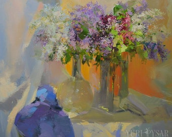 Wall art flowers painting, Large still life painting lilac, Flower oil painting, Floral artwork on canvas,
