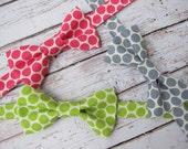 Boys Polka Dot Bow Tie- Toddler Lime Polka Dot Bow Tie- Adjustable Velcro Strap- Pink, Lime, Gray Polka Dot Bow Tie- Cake Smash Bow Tie