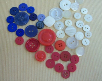Red, White and Blue Buttons-44 in all