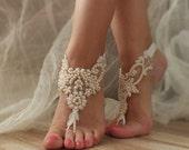 ivory champagne pearl beach shoes, bridal sandals, lariat sandals, wedding bridal, bellydance, wedding shoes, summer wear, handmade