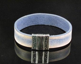 Blue Distressed Leather Cuff