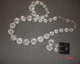 Crystal clear necklace, earring and bracelet set