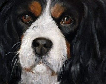 PRINT Tri color Cavalier King Charles Spaniel dog pet portrait  print of painting / Mary Sparrow unstretched and rolled