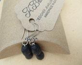 Black Lava Stone Earrings, Lava Drop Earrings, Handmade Gemstone Earrings, Black Lava Dangly Earrings, Edinburgh Jewellery Designer, U.K.