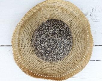 Vintage Black And Tan Floppy Sun Hat/Vintage Wide Brim Hat/Resort Hat/Black/Tan/Beach Hat/Retro Hat/Boho Chic Sun Hat/Gardener Hat/Vacation