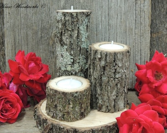 SALE 3 Tree Branch Candle Holders, rustic wedding candle holder, wood candle holder,log candle holders,wood slice,table centerpiece,woodland
