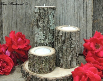 Tree Branch Candle Holders, Set of 3, Rustic wood candle holders, Wooden candle holders, tree bark candle holders
