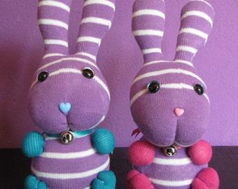 Handmade Sock Bunny, Sock Rabbit, Handcrafted Sweet Bunny, Sock Monkey, Handmade Stuffed Animal, Soft Plush, Cute Stuffed Bunny Rabbit
