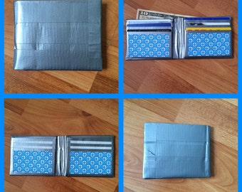 Silver and Blue Duct Tape Wallet