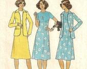 "A Raised, Contour Waistline, Short Sleeve A-Line Dress and Unlined Jacket Pattern for Women: Uncut - Size 10, Bust 32-1/2"" • Simplicity 7940"