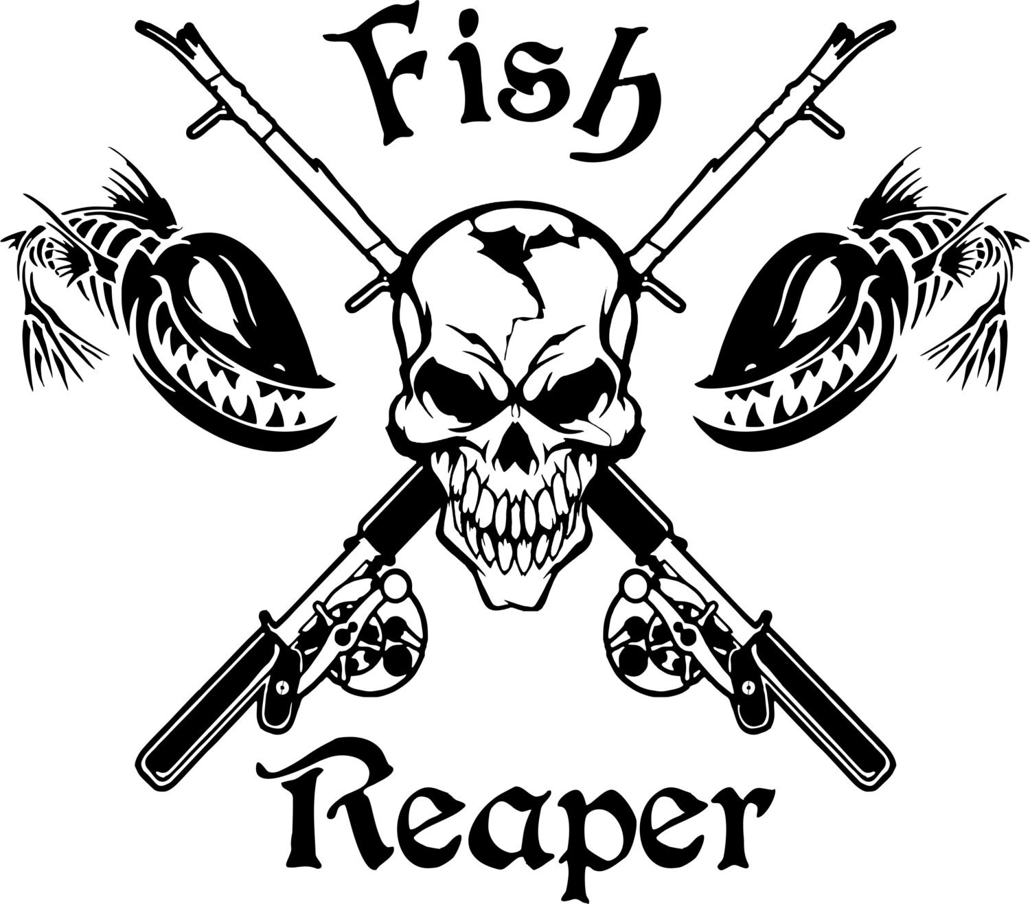Fish Reaper Skull Skeleton Rod Car Boat Truck Window Vinyl - Boat decals stickers   easy removal
