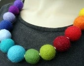 """Felt necklace """" Rainbow """", felt jewelry felted beads ca. 0.7-0.8 inches 100% wool, lenght: appr. 23 inches, felted"""