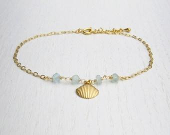Shell anklet, Aqua chalcedony jewelry, Gold ankle bracelet