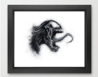 Venom INSTANT DOWNLOAD, Marvel comics, villian, comic fan, room decor - Digital Print