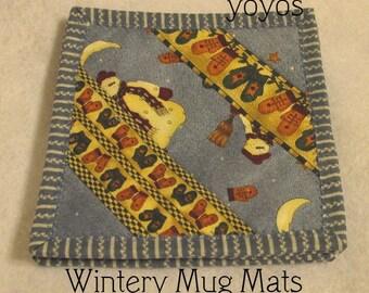 SNOW DAYS, MUG Mats,  Set of Four,  Seasonal,  Winter, Home Décor, Hostess Gift, Teacher Gift, Gift for Women,  Stocking Stuffer, Birthday
