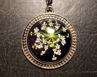 Silver Black and White Queen Annes Lace Preserved Specimen Necklace