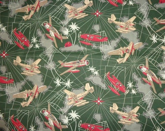 Green Army Airplane Cotton Fabric by the Yard /60 Inches Wide
