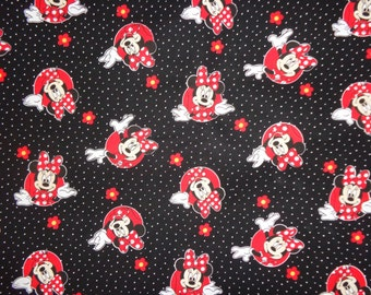 Black/Red Minnie Mouse Flowered Cotton Fabric by the Yard