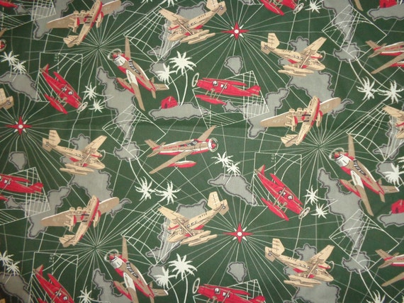 Green army airplane cotton fabric by the yard 60 by for Airplane fabric by the yard