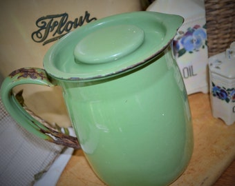 Vintage Lidded Enamelware Pitcher in Gorgeous Green