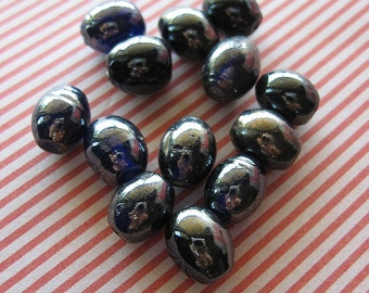 Vintage Navy Glass Oval Luster Beads, luster finish beads, vintage beads, vintage navy beads, navy beads, navy oval, vintage oval