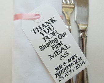 90 Wedding Napkin Holders-Wedding Table Decor-Elegant WhiteTags-Personalized-Thank You for Sharing Our First Meal-Unique Wedding Favors