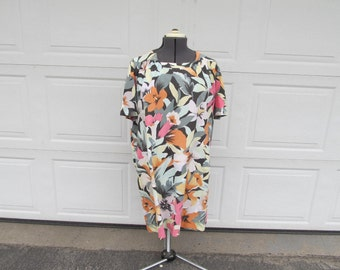 1960s Hawaiian handmade dress, vintage mumu, loose, breezy dress, large