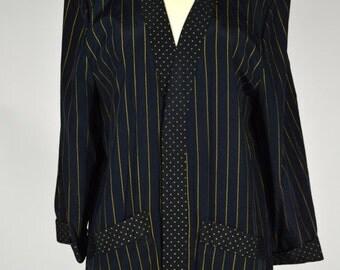 ON SALE 1980s ROBE Blazer: Open Front Blazer / Pinstriped Blazer / Black 80s Blazer / Slouchy Blazer / Slouchy Jacket / 80s Jacket / Slouchy