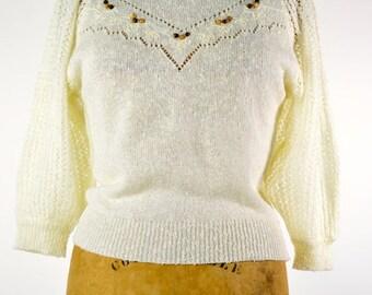 ON SALE CREAM Sweater: Bohemian Sweater // Cream Knit Sweater // Off White Sweater // 80s Ruffled Sweater // Victorian Sweater