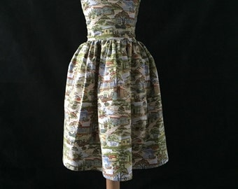 Party frock in retro vacation fabric.