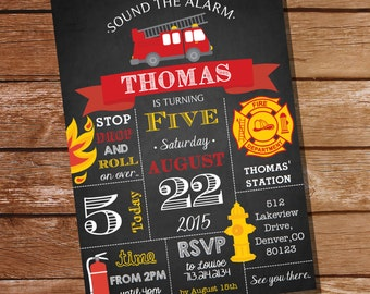 Chalkboard Fireman / Firefighter Birthday Party Invitation - Instant Download and Edit File at home with Adobe Reader - Print at home